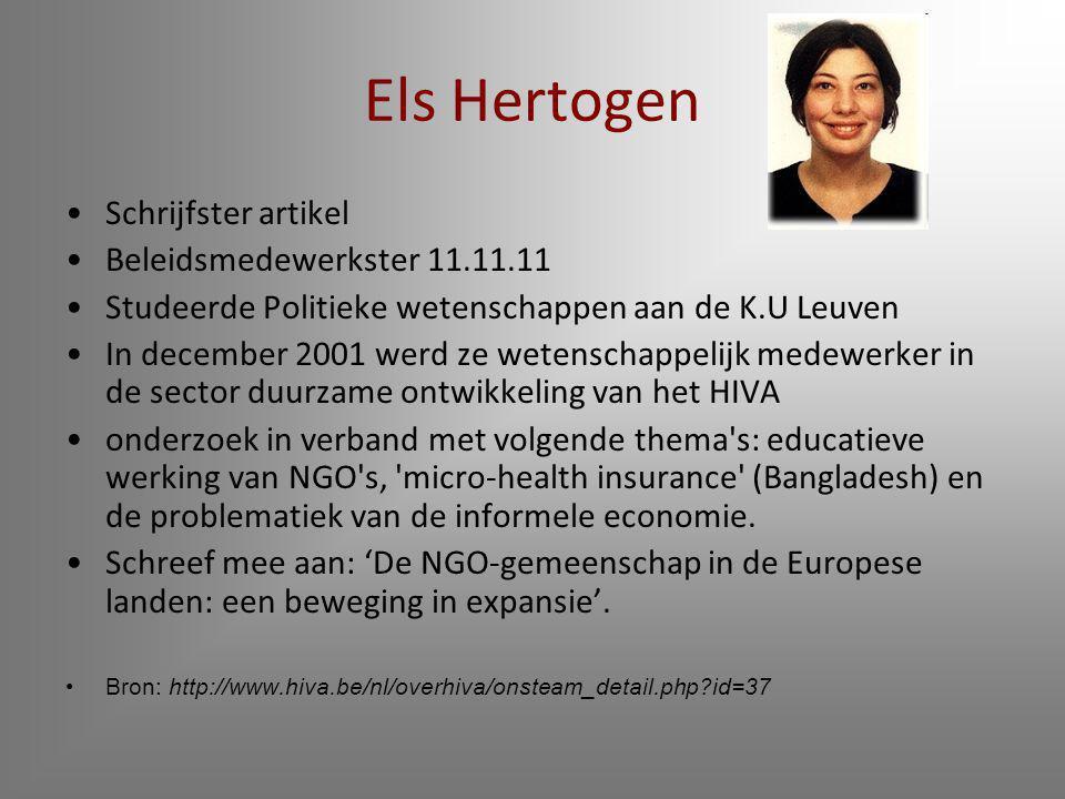 Els Hertogen Schrijfster artikel Beleidsmedewerkster 11.11.11
