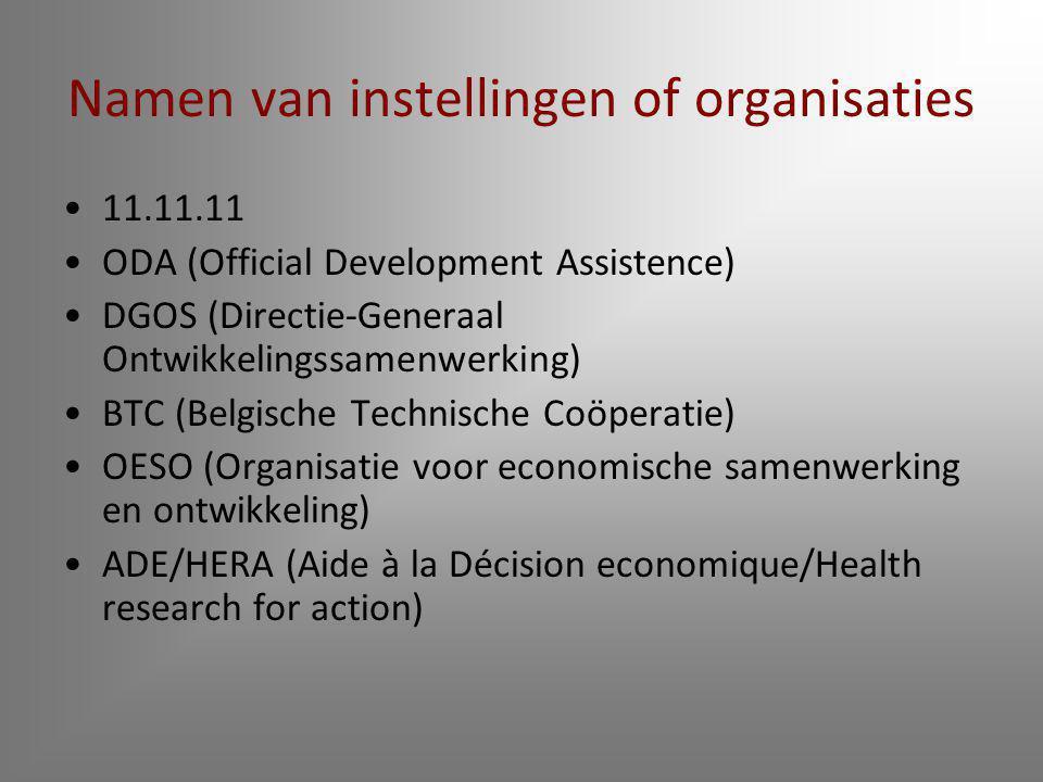 Namen van instellingen of organisaties