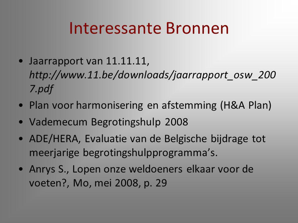 Interessante Bronnen Jaarrapport van 11.11.11, http://www.11.be/downloads/jaarrapport_osw_2007.pdf.