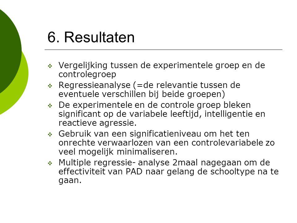 6. Resultaten Vergelijking tussen de experimentele groep en de controlegroep.