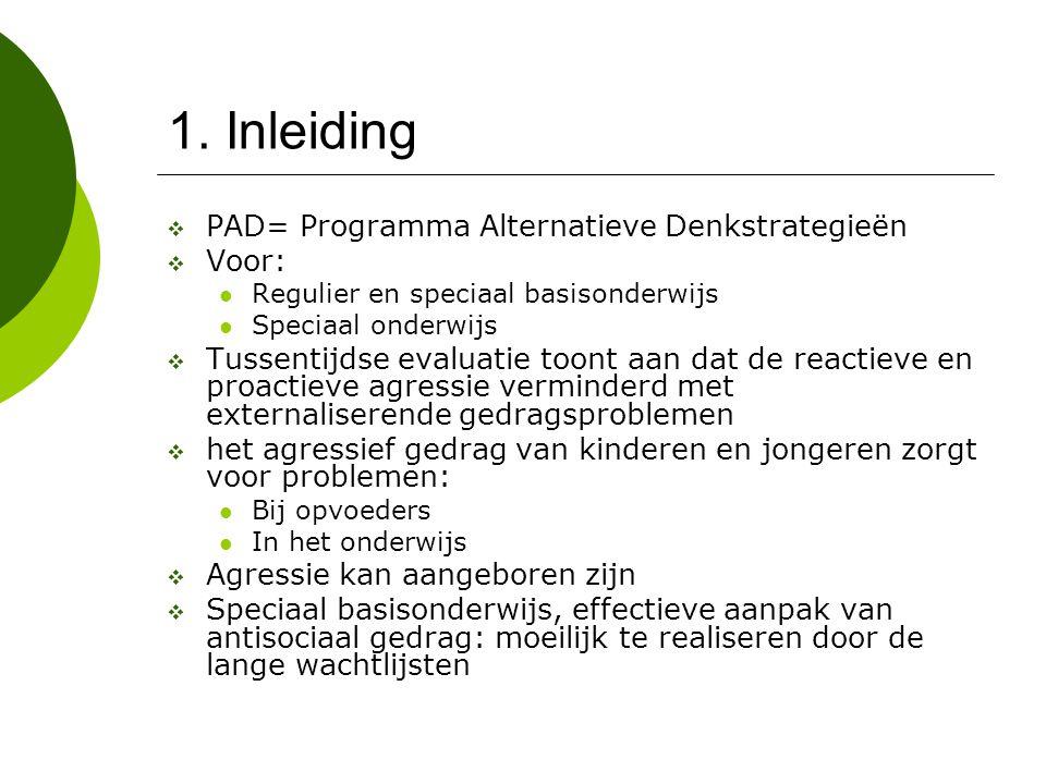1. Inleiding PAD= Programma Alternatieve Denkstrategieën Voor: