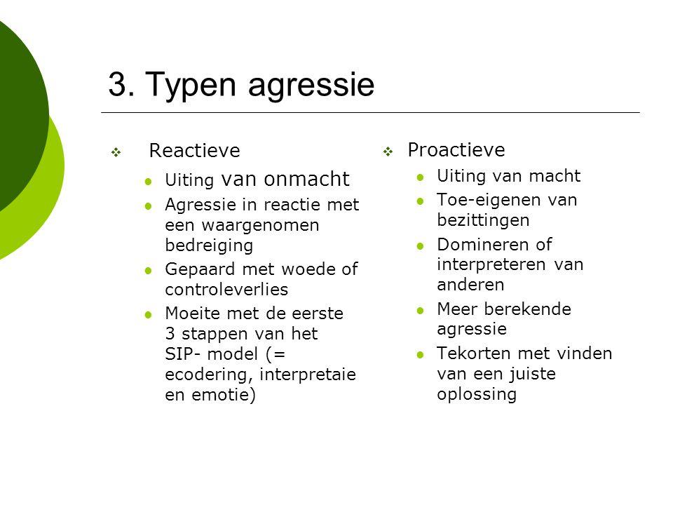 3. Typen agressie Reactieve Proactieve Uiting van onmacht