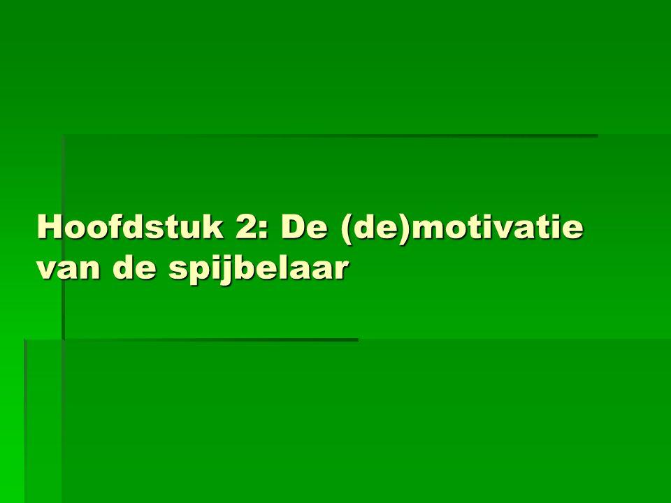 Hoofdstuk 2: De (de)motivatie van de spijbelaar