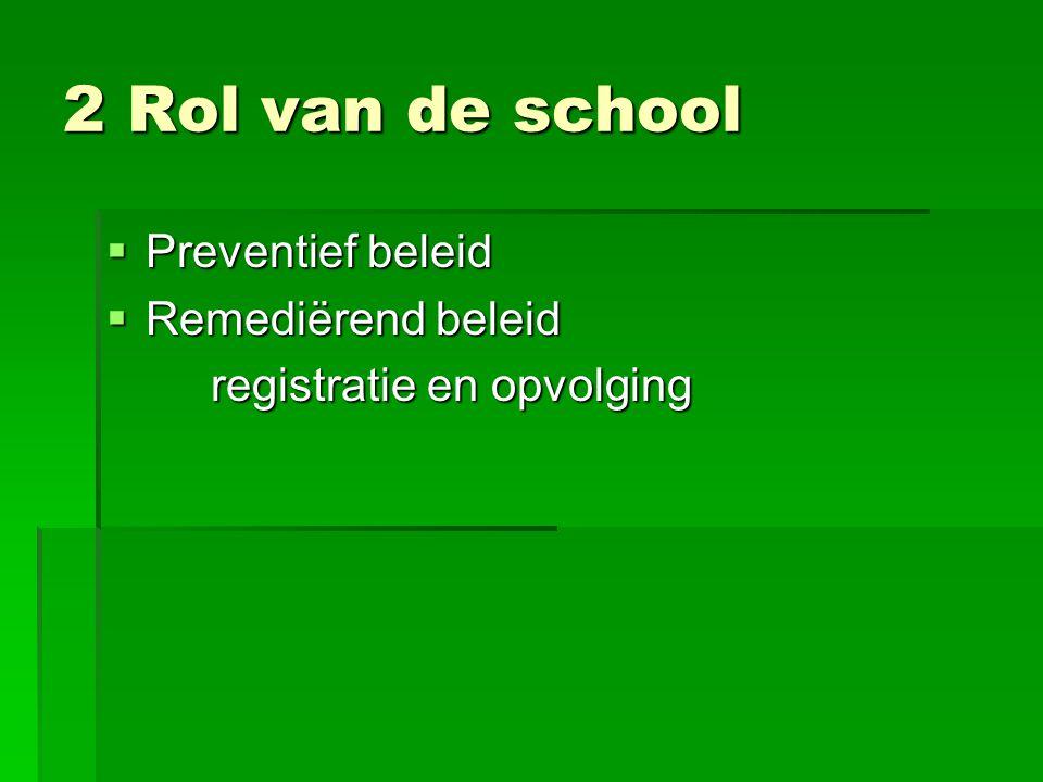 2 Rol van de school Preventief beleid Remediërend beleid