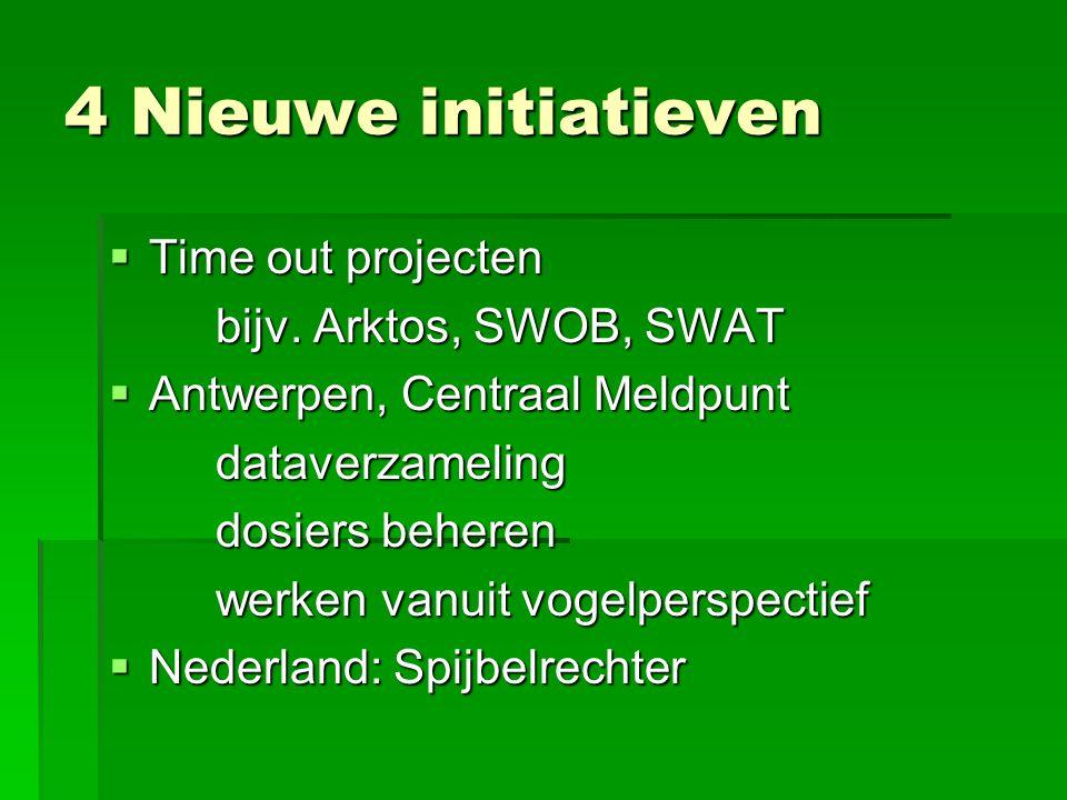 4 Nieuwe initiatieven Time out projecten bijv. Arktos, SWOB, SWAT