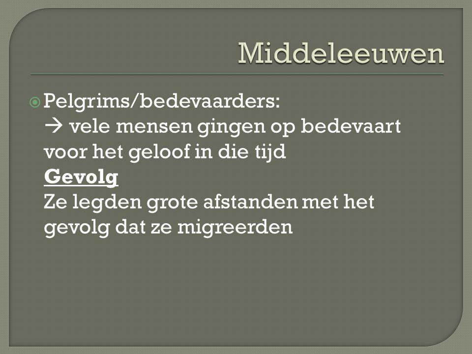 Middeleeuwen Pelgrims/bedevaarders:
