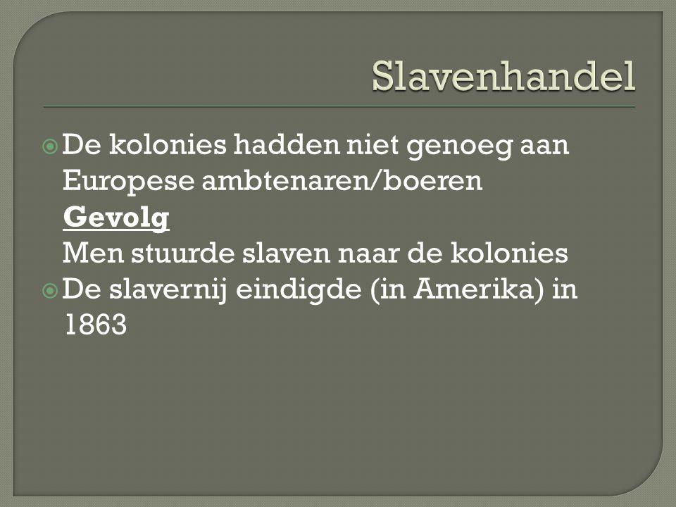 Slavenhandel De kolonies hadden niet genoeg aan Europese ambtenaren/boeren. Gevolg. Men stuurde slaven naar de kolonies.
