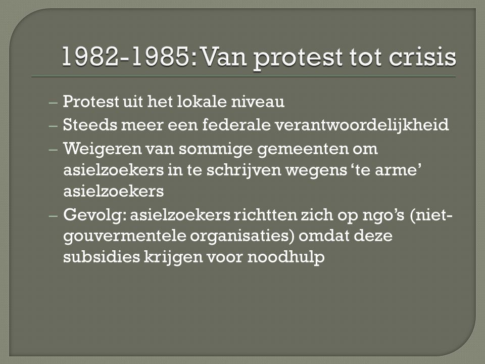 1982-1985: Van protest tot crisis