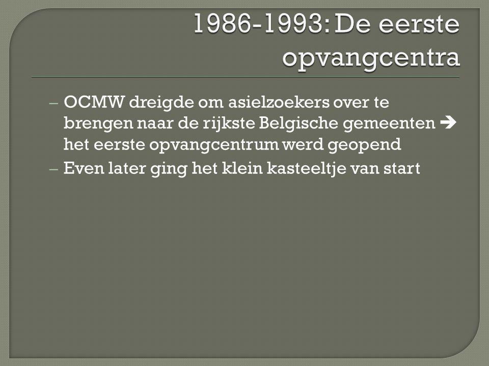 1986-1993: De eerste opvangcentra