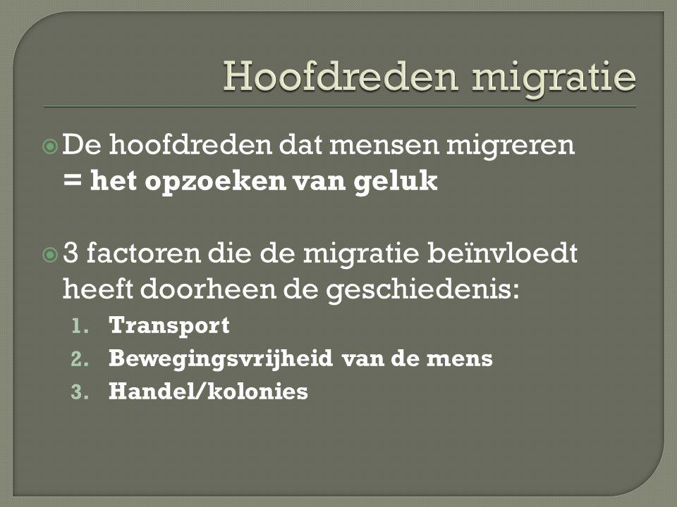 Hoofdreden migratie De hoofdreden dat mensen migreren