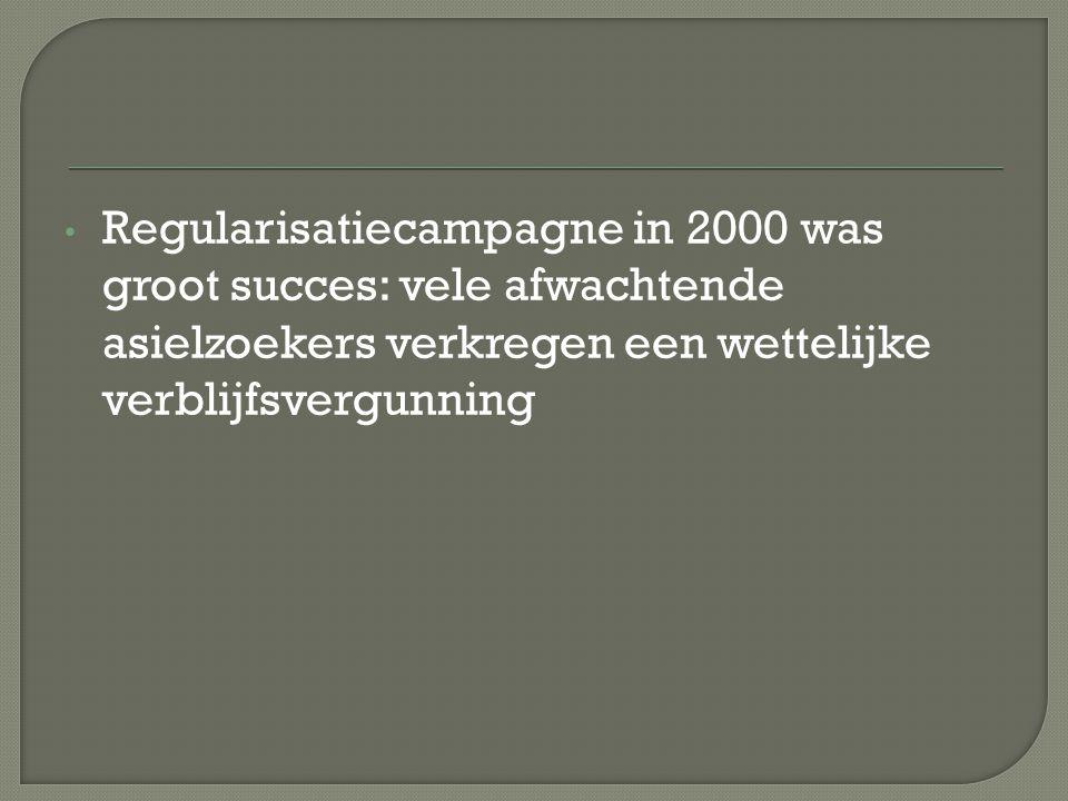 Regularisatiecampagne in 2000 was groot succes: vele afwachtende asielzoekers verkregen een wettelijke verblijfsvergunning