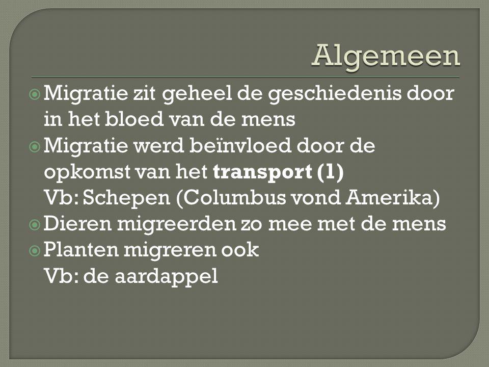 Algemeen Migratie zit geheel de geschiedenis door in het bloed van de mens. Migratie werd beïnvloed door de opkomst van het transport (1)