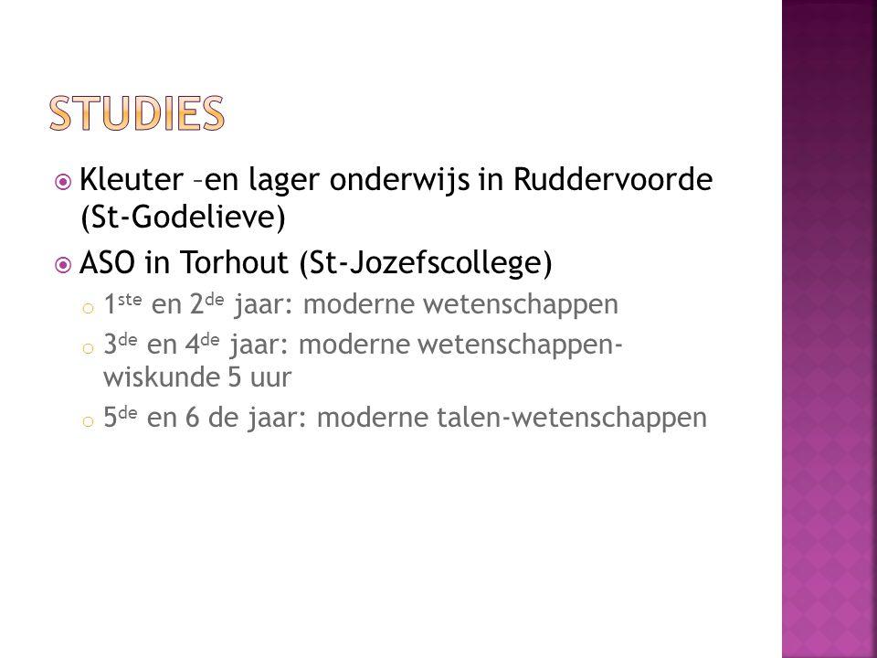 Studies Kleuter –en lager onderwijs in Ruddervoorde (St-Godelieve)