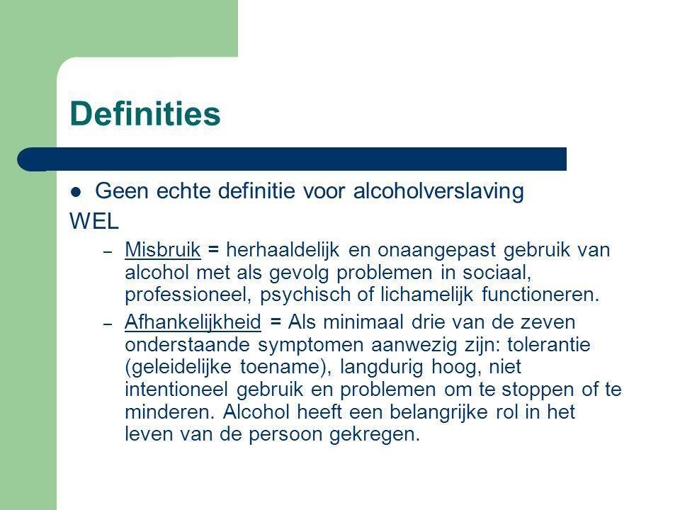 Definities Geen echte definitie voor alcoholverslaving WEL