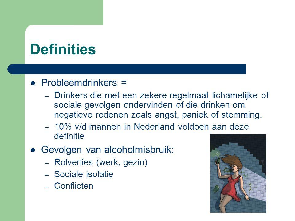 Definities Probleemdrinkers = Gevolgen van alcoholmisbruik: