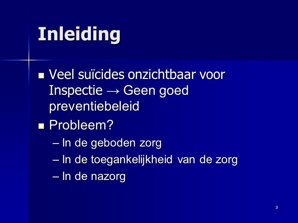 Inleiding Veel suïcides onzichtbaar voor Inspectie → Geen goed preventiebeleid. Probleem In de geboden zorg.