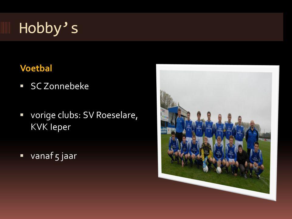 Hobby's Voetbal SC Zonnebeke vorige clubs: SV Roeselare, KVK Ieper