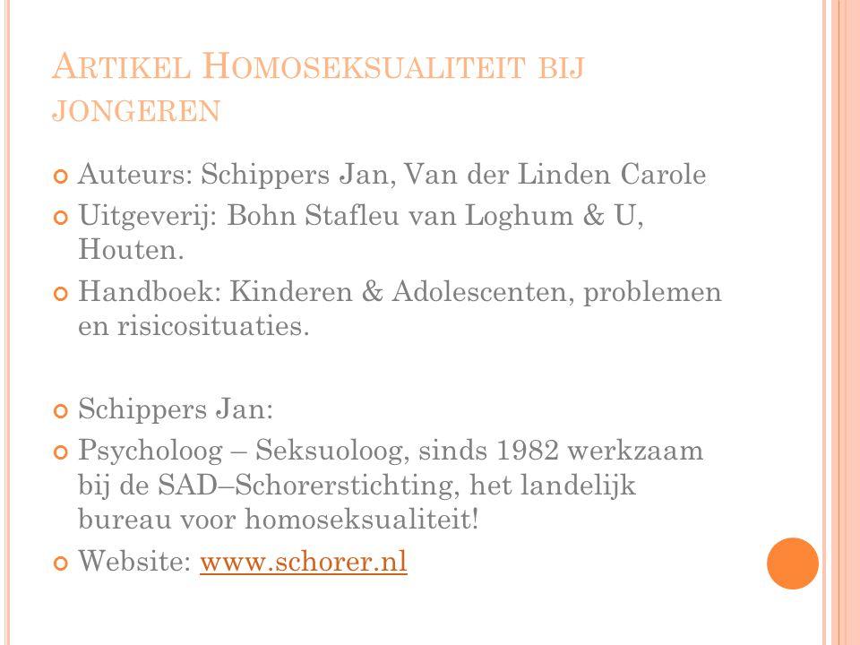 Artikel Homoseksualiteit bij jongeren