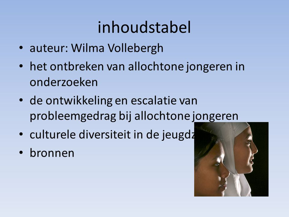 inhoudstabel auteur: Wilma Vollebergh
