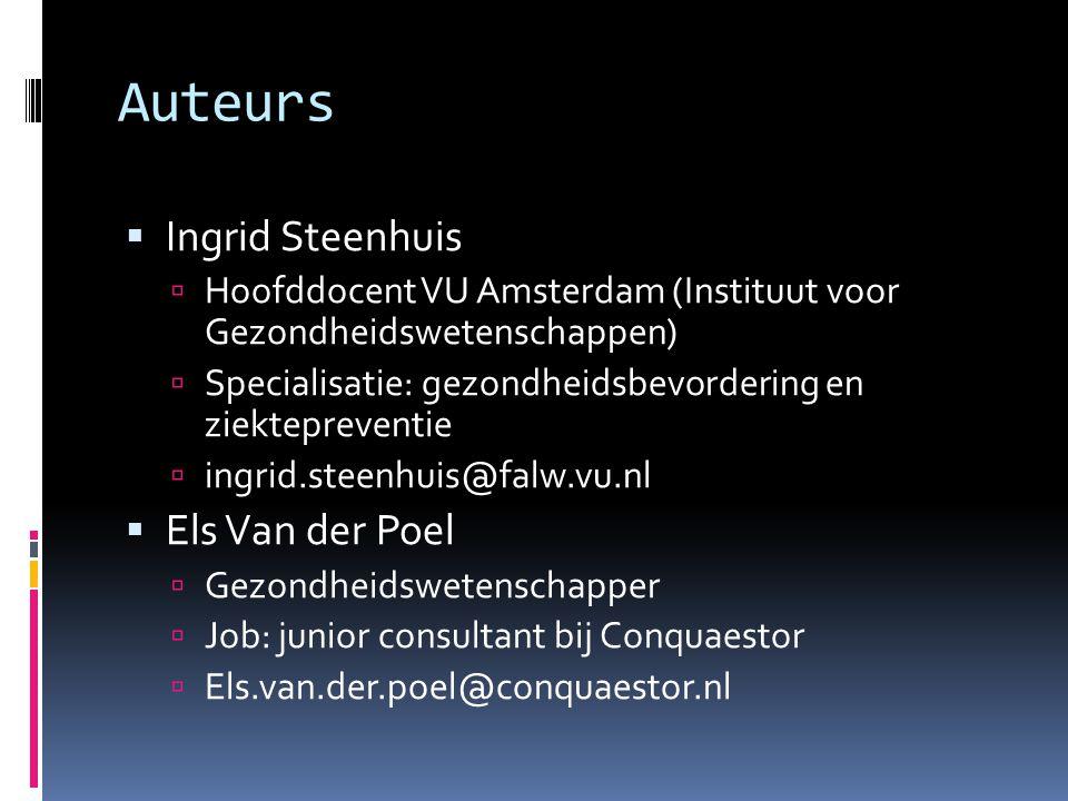 Auteurs Ingrid Steenhuis Els Van der Poel