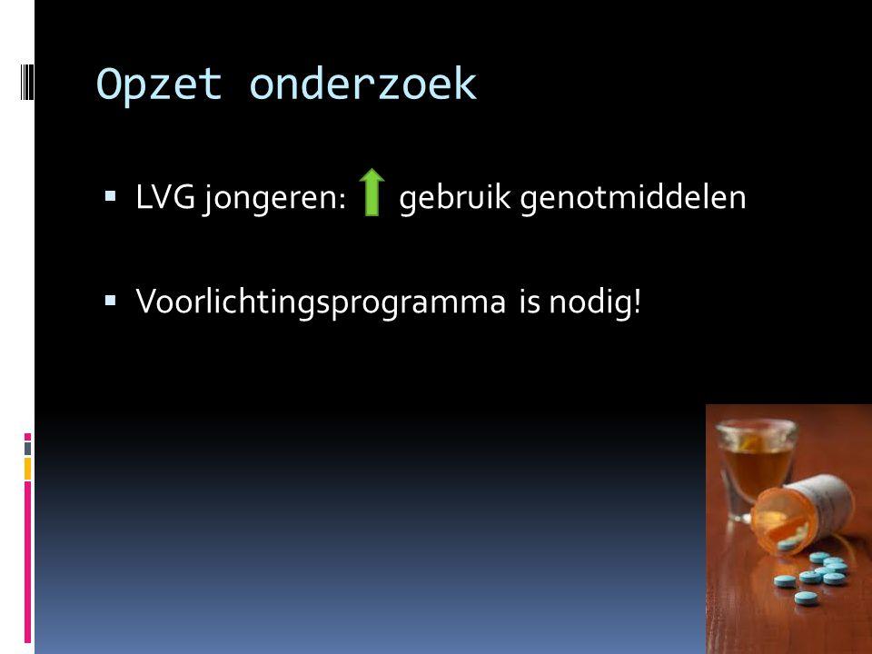 Opzet onderzoek LVG jongeren: gebruik genotmiddelen