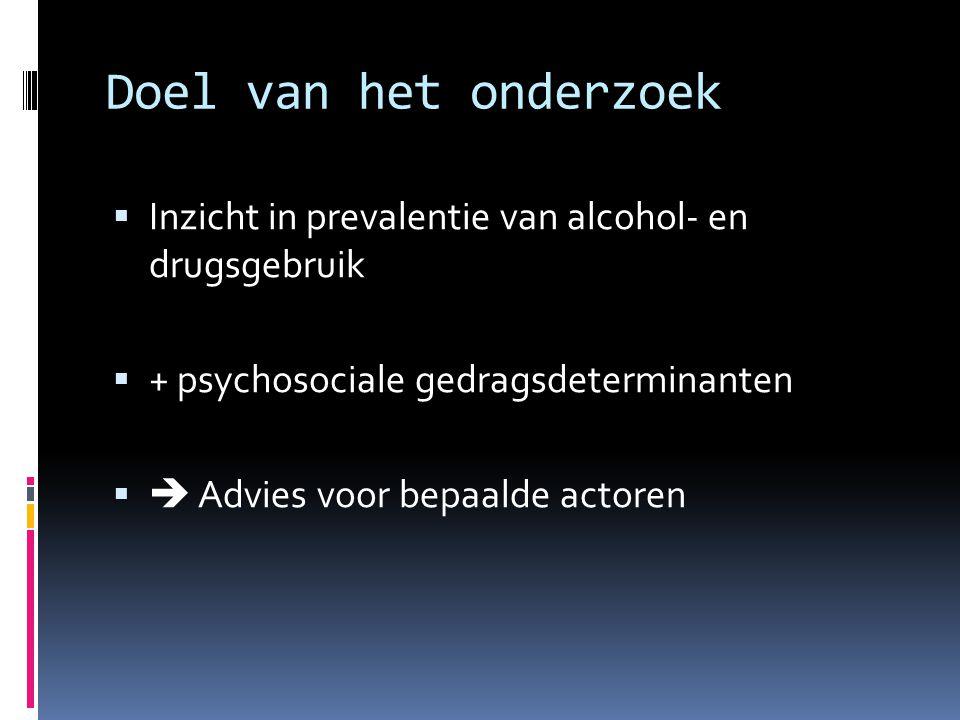 Doel van het onderzoek Inzicht in prevalentie van alcohol- en drugsgebruik. + psychosociale gedragsdeterminanten.