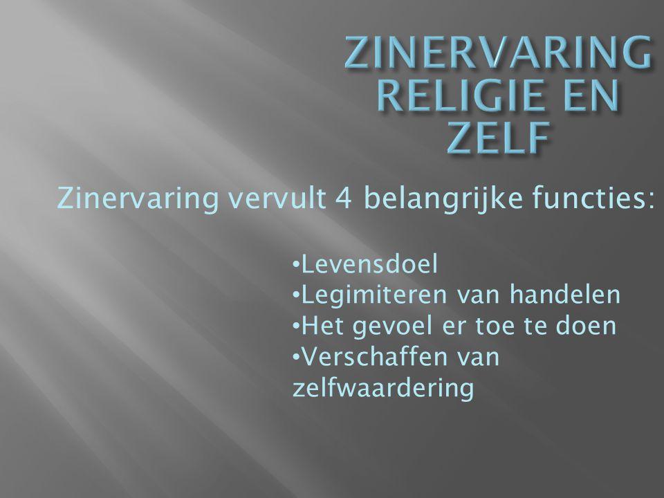 ZINERVARING RELIGIE EN ZELF