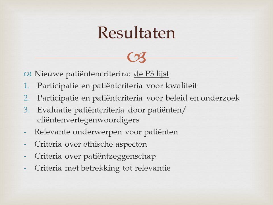 Resultaten Nieuwe patiëntencriterira: de P3 lijst