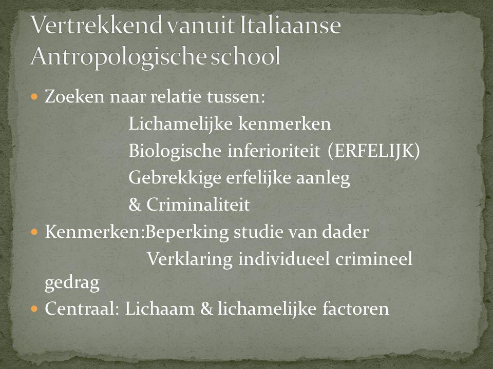 Vertrekkend vanuit Italiaanse Antropologische school