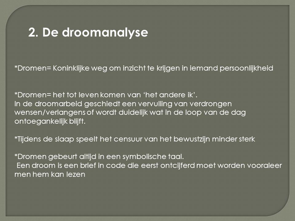 2. De droomanalyse *Dromen= Koninklijke weg om inzicht te krijgen in iemand persoonlijkheid. *Dromen= het tot leven komen van 'het andere ik'.