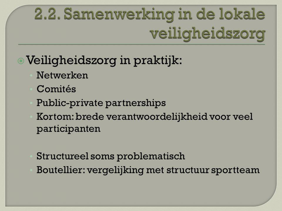 2.2. Samenwerking in de lokale veiligheidszorg