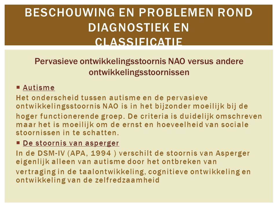 Beschouwing en problemen rond diagnostiek en classificatie