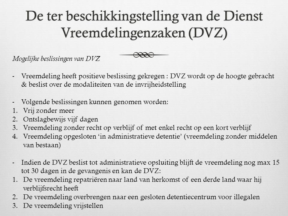 De ter beschikkingstelling van de Dienst Vreemdelingenzaken (DVZ)