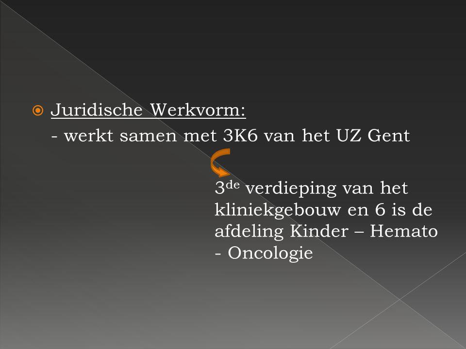 Juridische Werkvorm: - werkt samen met 3K6 van het UZ Gent.