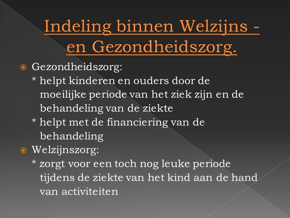Indeling binnen Welzijns - en Gezondheidszorg.