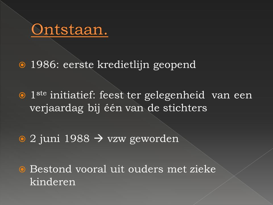 Ontstaan. 1986: eerste kredietlijn geopend