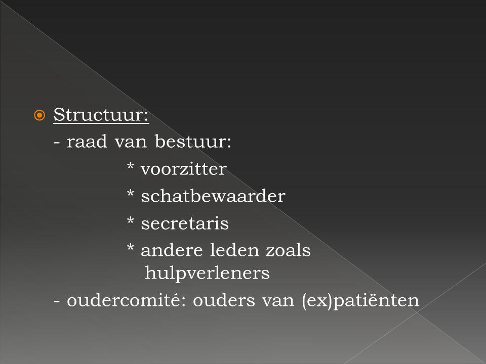 Structuur: - raad van bestuur: * voorzitter. * schatbewaarder. * secretaris. * andere leden zoals hulpverleners.