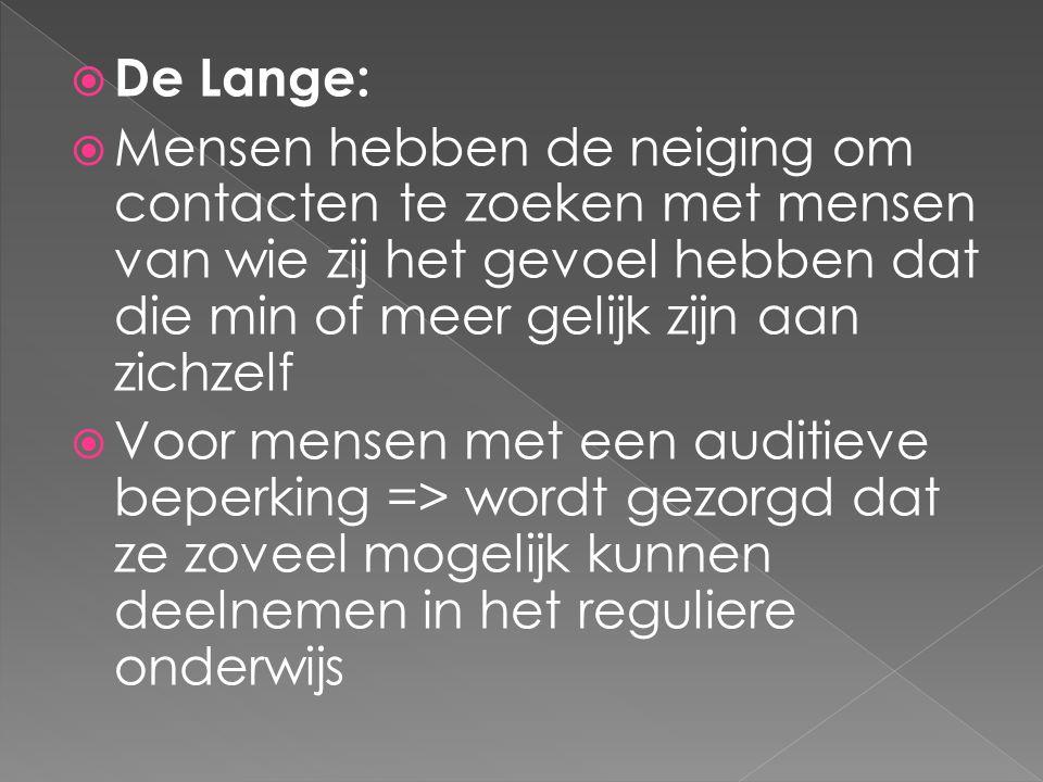 De Lange: Mensen hebben de neiging om contacten te zoeken met mensen van wie zij het gevoel hebben dat die min of meer gelijk zijn aan zichzelf.