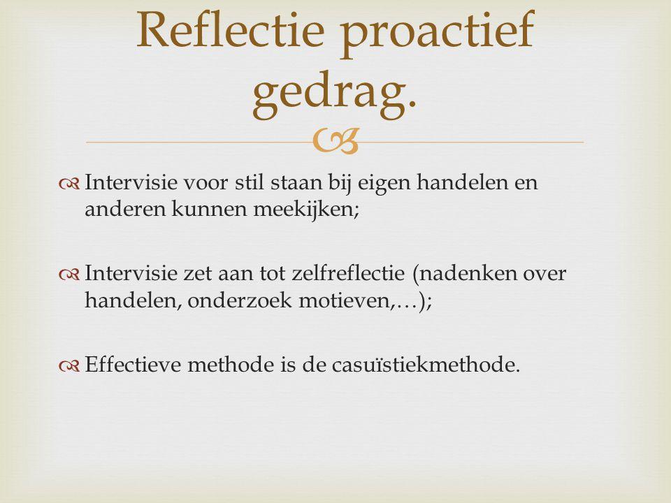 Reflectie proactief gedrag.