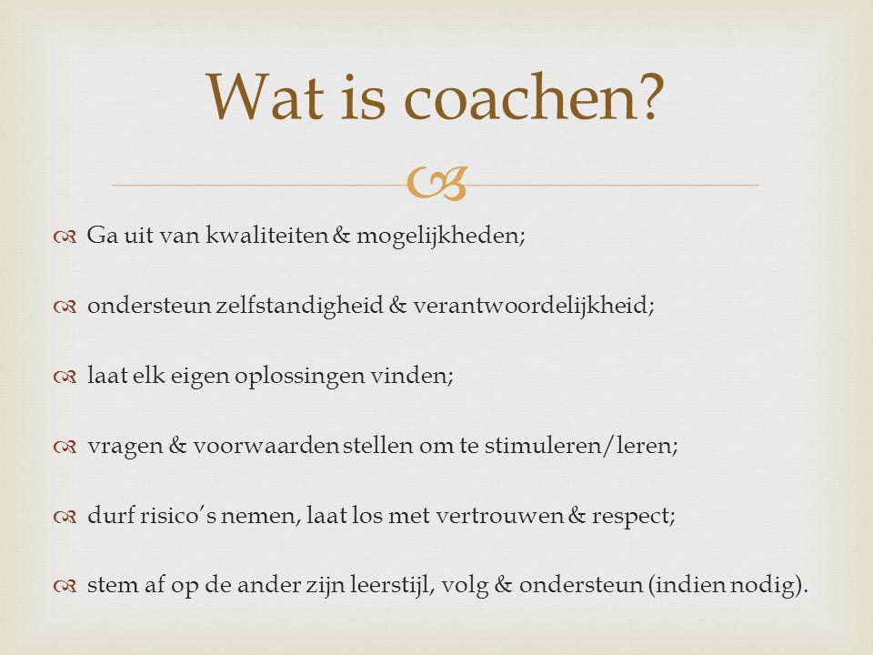 Wat is coachen Ga uit van kwaliteiten & mogelijkheden;