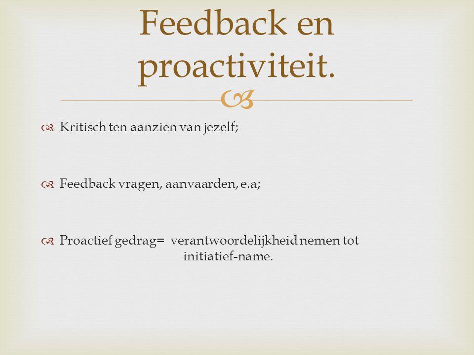 Feedback en proactiviteit.