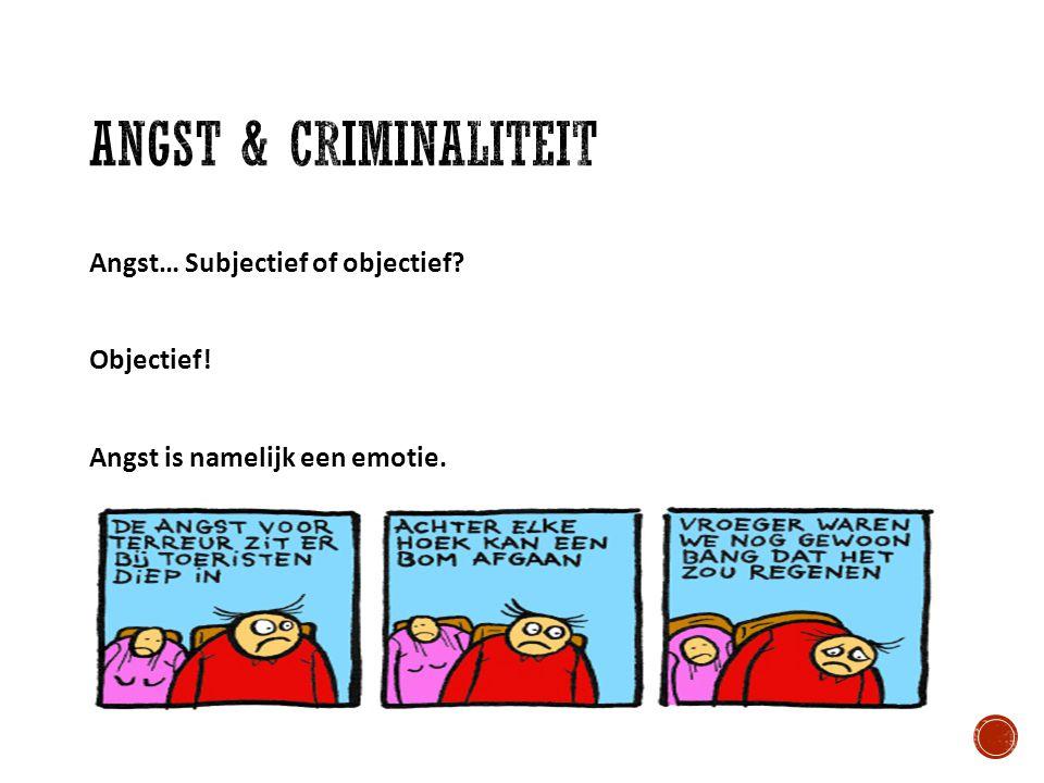 Angst & criminaliteit Angst… Subjectief of objectief Objectief! Angst is namelijk een emotie.