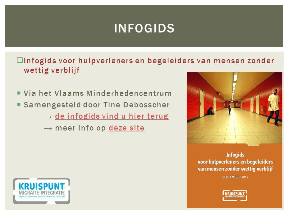 Infogids Infogids voor hulpverleners en begeleiders van mensen zonder wettig verblijf. Via het Vlaams Minderhedencentrum.