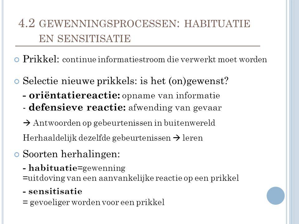 4.2 gewenningsprocessen: habituatie en sensitisatie