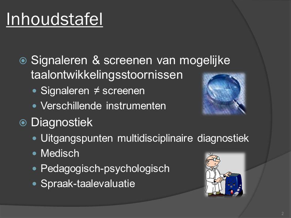 Inhoudstafel Signaleren & screenen van mogelijke taalontwikkelingsstoornissen. Signaleren ≠ screenen.