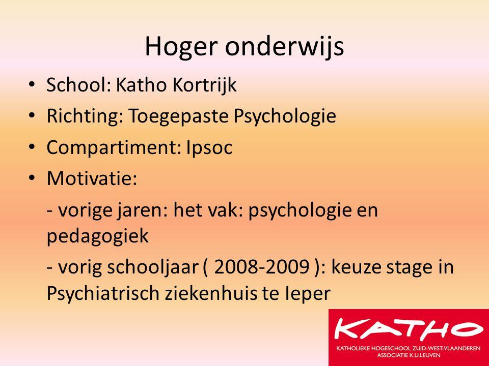 Hoger onderwijs School: Katho Kortrijk
