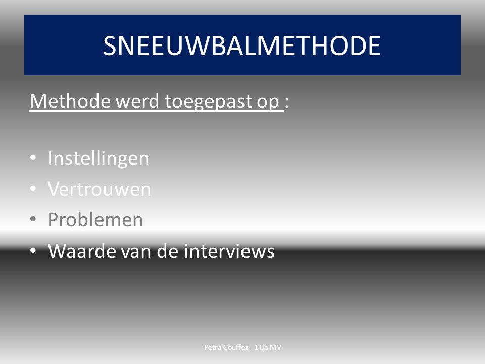 SNEEUWBALMETHODE Methode werd toegepast op : Instellingen Vertrouwen
