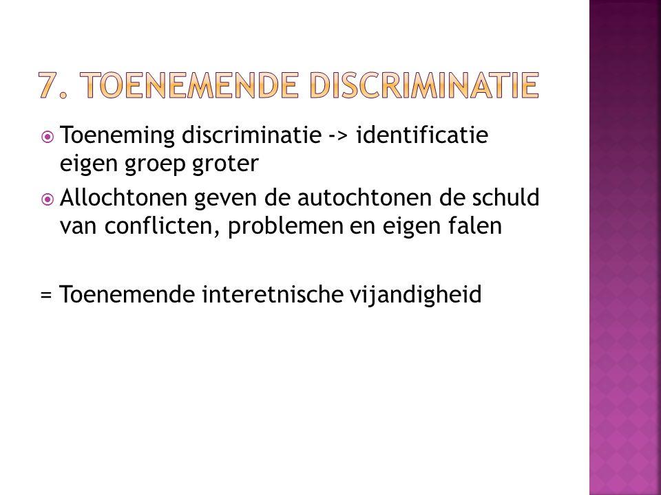 7. Toenemende discriminatie