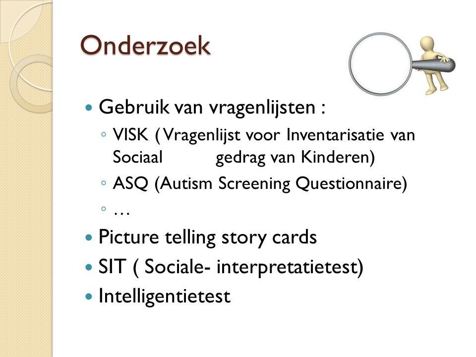 Onderzoek Gebruik van vragenlijsten : Picture telling story cards