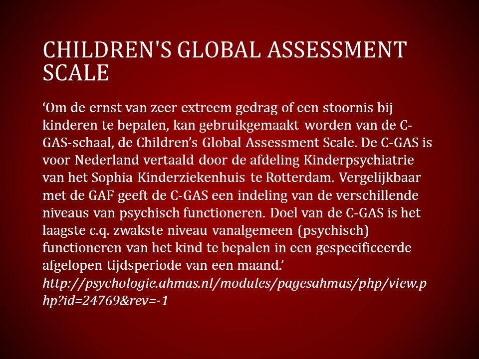 Children s Global Assessment Scale